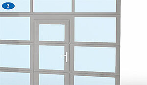 coloured Thermo or NovoLux sectional door with integrated pass door,