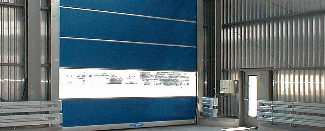blue rapid roll door with window