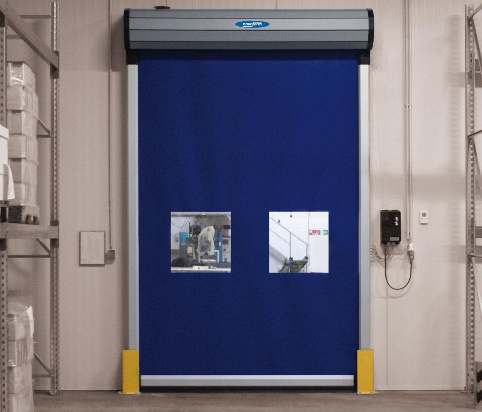a blue rapid roll door
