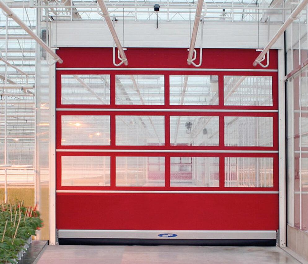 red modular roll door